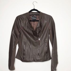 Express Brown Faux Leather Zip Up Jacket